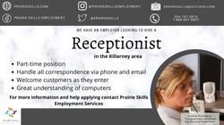 Receptionist   - Killarney