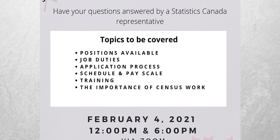 6pm - Census Virtual Information Session