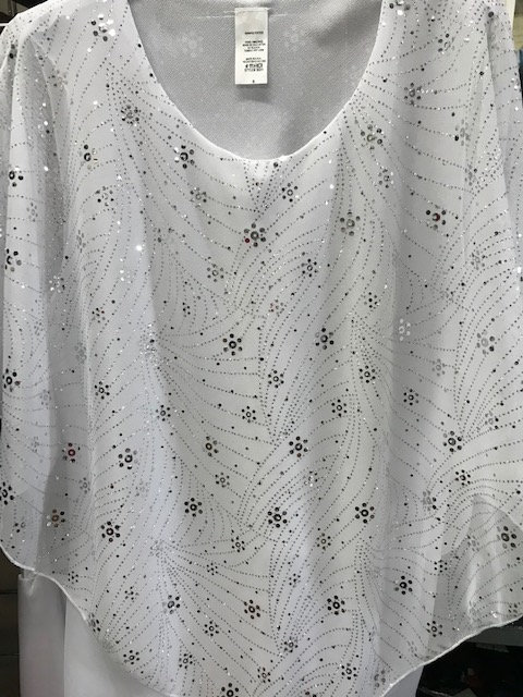 T3031 Shooting Star  White Poncho Top