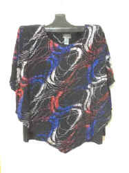 T3153 Glitter Swirl Poncho Top with Shell