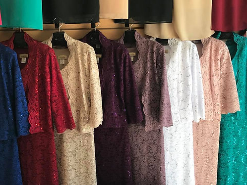 ELW823 Lace Dress Set- Mid Length