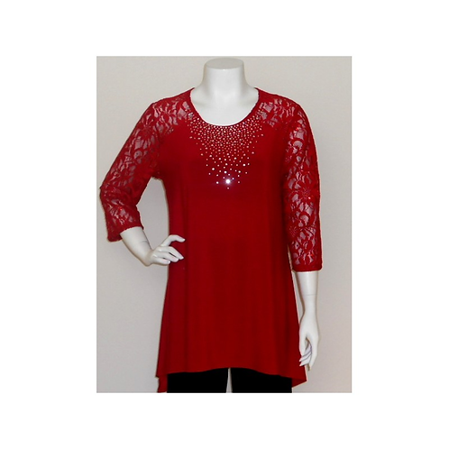 T3427 Lace Sleeve ITY Trapeze Tunic with Crystal Accented Neckline