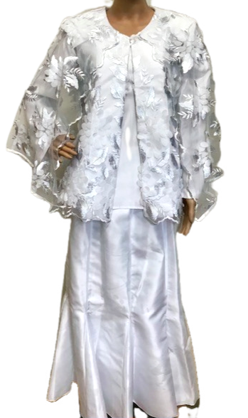 SKaret 1127 3pc Lace Cape Style Jacket with Tafeta Shell and Skirt