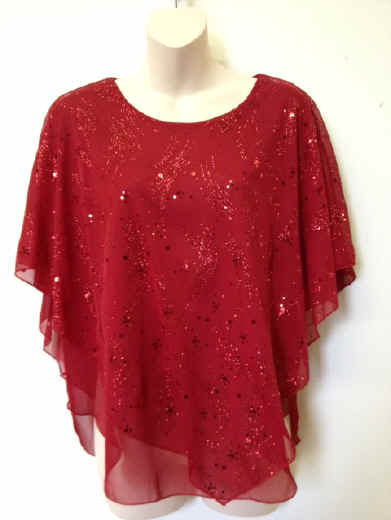 T3031 Shooting Star  Red Poncho Top