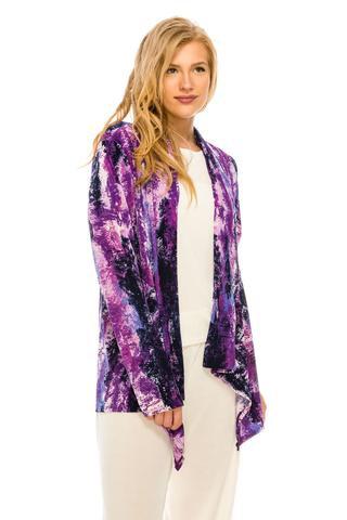 AB428-170  Drape Jacket Purple/Fuschia