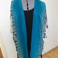 P25 Chiffon Kimono Jacket Turquoise Animal