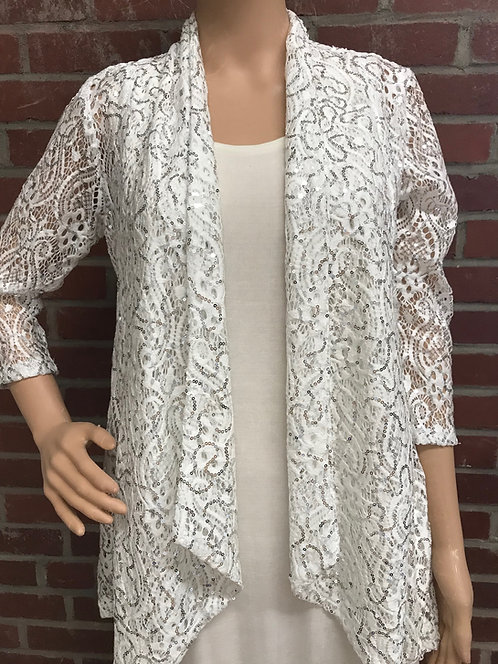 SR 777 -835 Dressy Drape Jacket Winter White Sequin