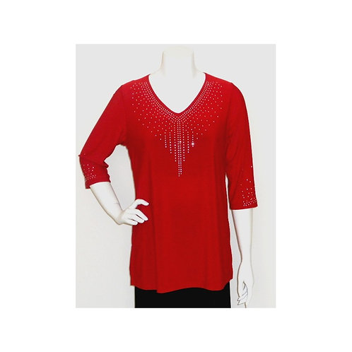 T3352 Stretch Knit V Neck Tunic With Crystal Accents