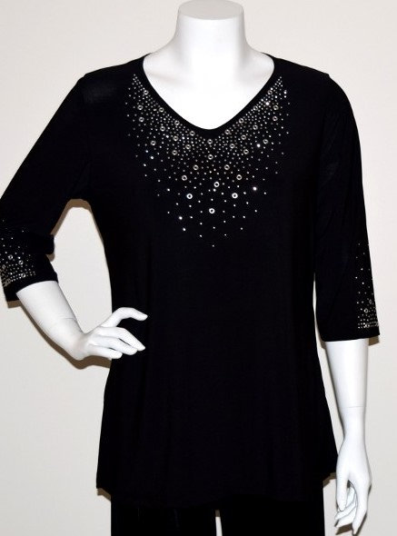 T13353 Stretch Knit V Neck Tunic With Crystal Accents
