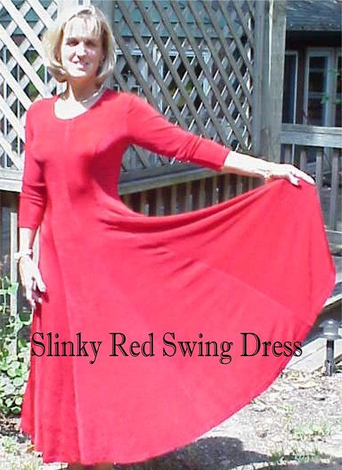 Long Sleeve Princess Style Swing Dress -  Acetate