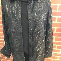 Black Sequin and Lace Sheer Shirt Style Jacket