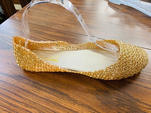 Gold Lace Look Jelly Flats