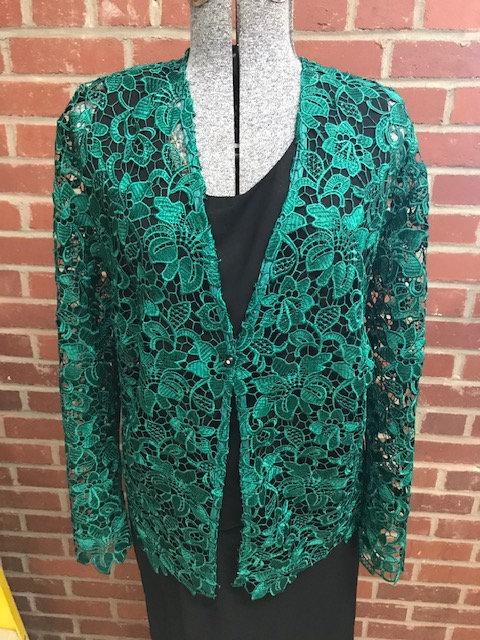 T2059 Hunter Green Lace Jacket