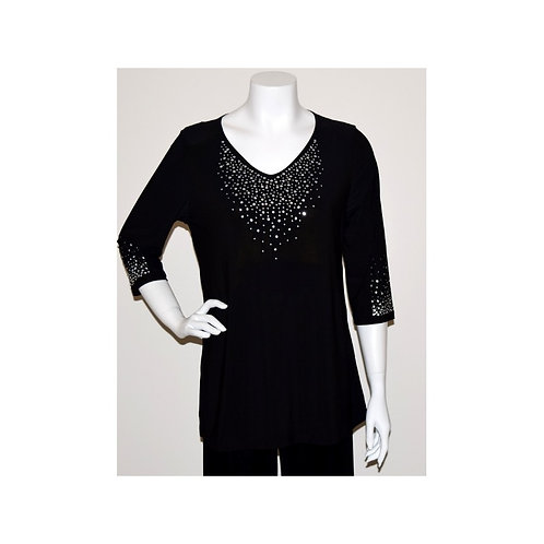 T3354 Stretch Knit V Neck Tunic With Crystal Accents