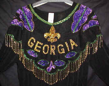 Georgia Beaded and Sequin Collar - Gold/ Purple