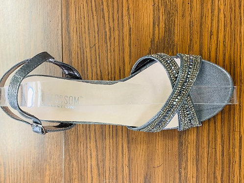 Gunmetal  Criss Cross Rhinestone Dressy Lower Heels