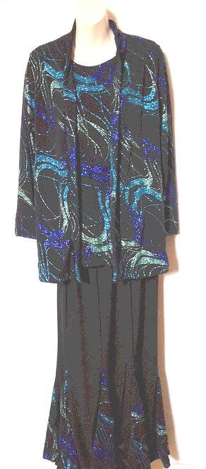 T3055  3pc Swirl Insert Skirt Set