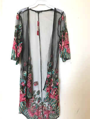 MCT 728 Embroidered Lace Duster Coat