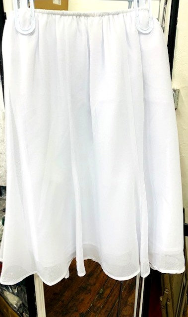 "S2348  24"" White GeorgetteTrumpet Skirt"