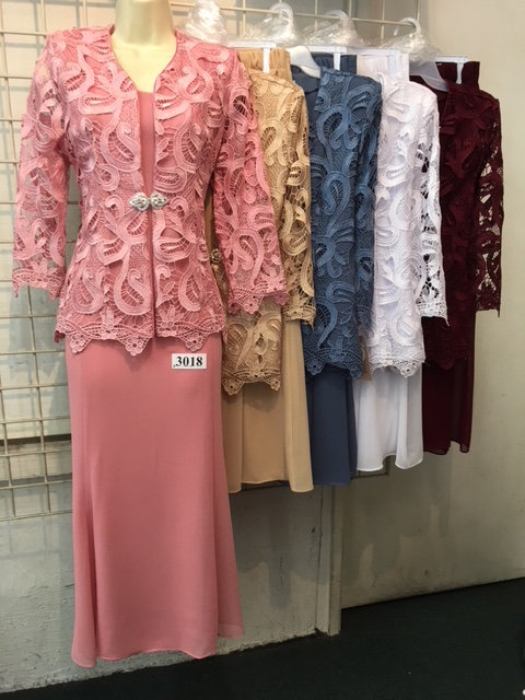 C3018-18 3pc Lace Jacket with Georgette Tank and Skirt