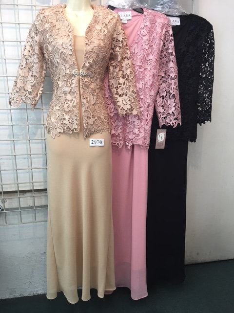 C3033 3pc  Lace Jacket with Georgette Tank Top and Trumpet Skirt