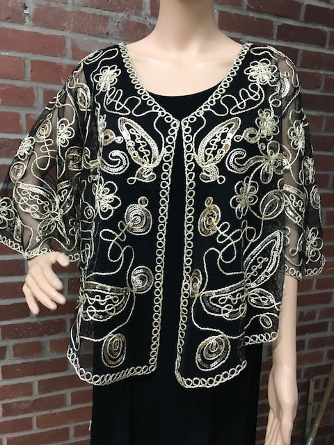 Sequin and Soutach Cape Black/ Gold with sleeves