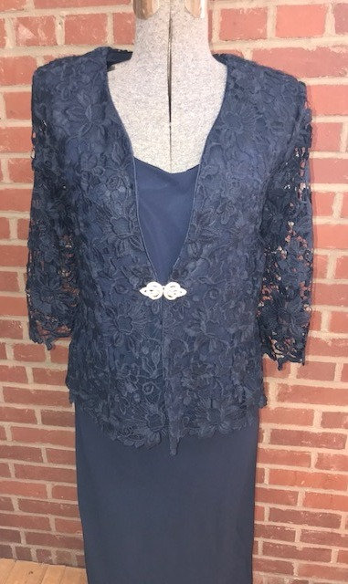C2996 2pc  Lace Jacket with Georgette Dress