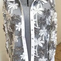 Sequin and Embroidered Palm Tree Shirt