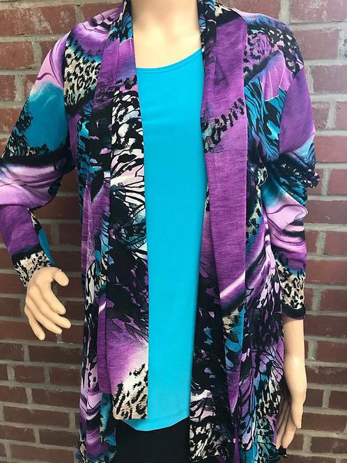 RL 424SK Mesh Drape Jacket Purple/Turquoise