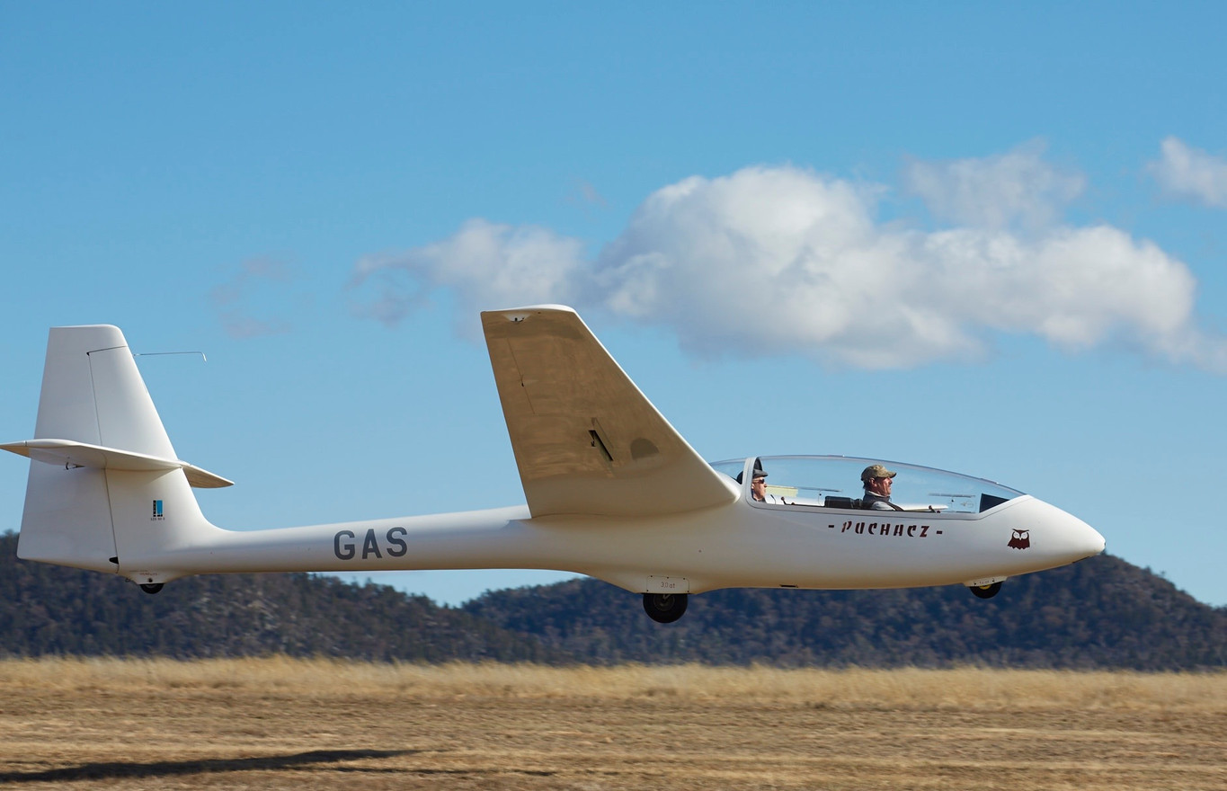 VH-GAS, one of two Puchacz ('Owl') training gliders.