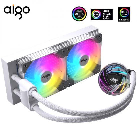 Aigo AT240 AIO Liquid CPU Cooler aRGB - White
