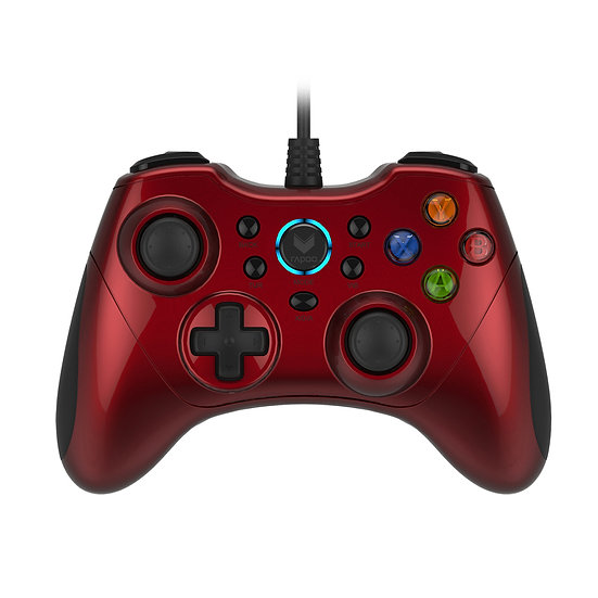 RAPOO V600 Wired Electric Vibration Gamepad - RED