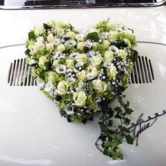 La voiture des mariés - Fleurir l'arrière