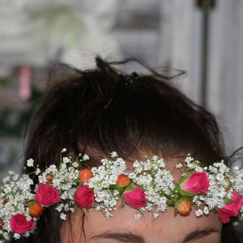 couronne de fleurs et gypsophyle
