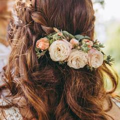 Peigne floral de la mariée