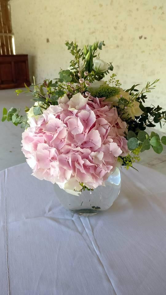 Bouquet rond et vase boule