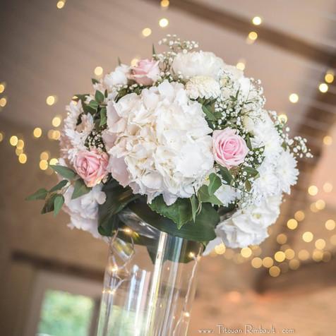 Boule de Fleurs sur vase haut