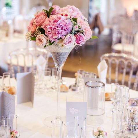 Composition florale dans Vase martini