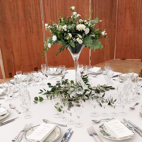 Centre de table blanc et vert - vase Martini