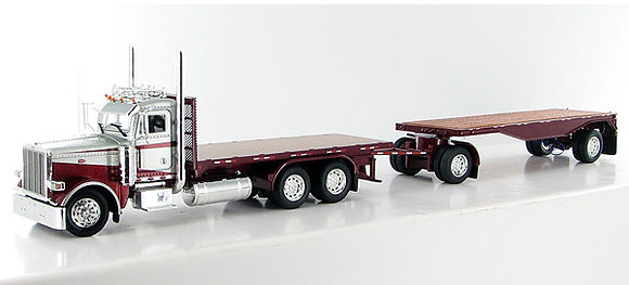 Peterbilt 388 Stake Body - White & brown with 24' Flatbed