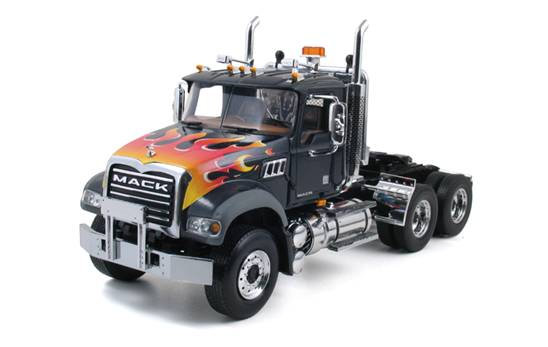 Mack Granite Tractor in black with red and orange flames