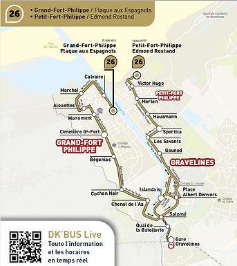 DK'BUS assure le transport gratuit depuis le gîte Bouteille A la Mer vers Gravelines et Dunkerque