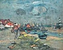 ABEL BERTRAM Gravelines le Port à marée basse 1938