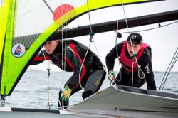 Team Lyngbek Vinter in 49er action