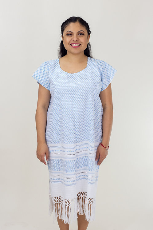 S-L Blue on White Mitla Dress