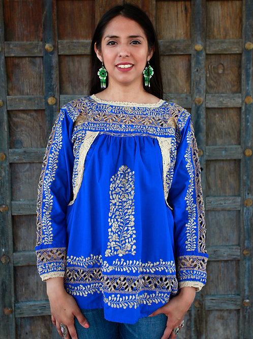 S/M Gold on Blue Deshilado Blouse de San Pedro Mártir