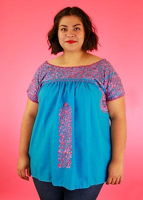 L/XL Pink on Blue Blusa Bordada de San Pedro Mártir