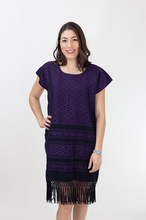S-L Purple on Black Mitla Dress