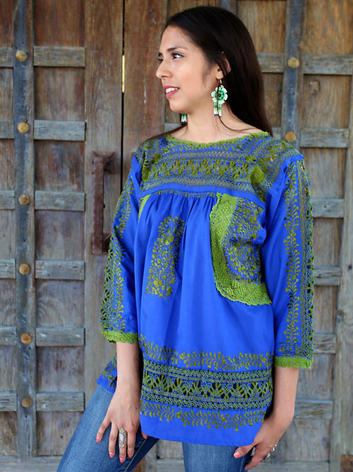 Green on Blue Deshilado Blouse de San Pedro Mártir