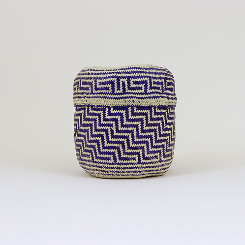 Purple and Natural Straw Basket